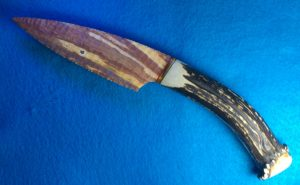 fancy jasper stone knife with deer antler handle