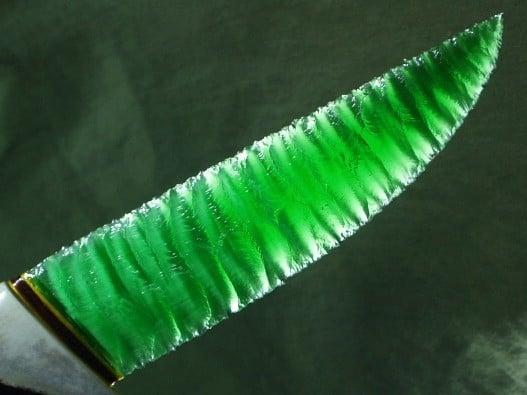 flint knapped fiber optic fighting knife