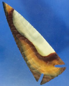 polychrome screamer flint knapped arrowhead