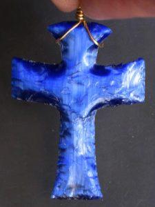 fiber optic cobalt cross necklace